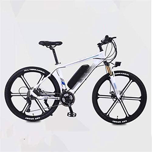 Leifeng Tower Alta Velocidad 26 Pulgadas eléctrico Bicicletas, Bicicletas de montaña Boost de aleación de Aluminio de Bicicletas for Adultos Ciclo al Aire Libre (Color : White)