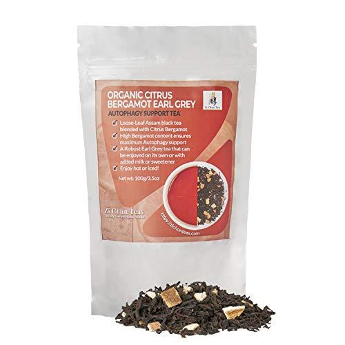 Organic Citrus Bergamot Earl Grey Tea : Loose Leaf Autophagy Tea with Extra Whole Bergamot pieces – Not your Regular Earl Grey : More than Double – A Full 30% Citrus Bergamot - 3.5 ounces