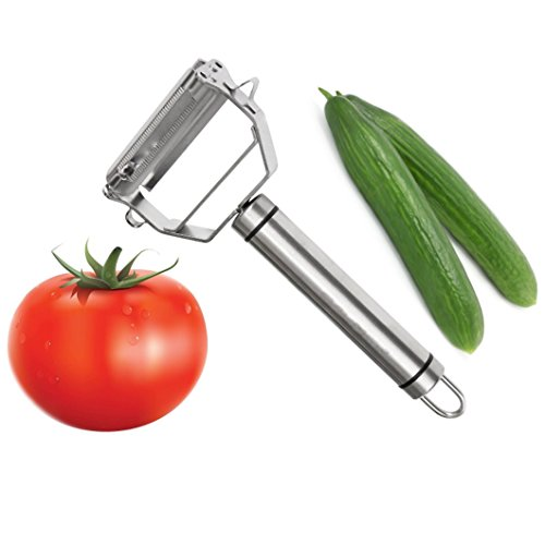 2 in 1 Stainless Steel Tomato Peeler Multifunctional Julienne Slicer Cutter Potato Carrot Vegetable Grater With Serrated Blade Easy Peel Tomato Soft Skin Kitchen Accessories
