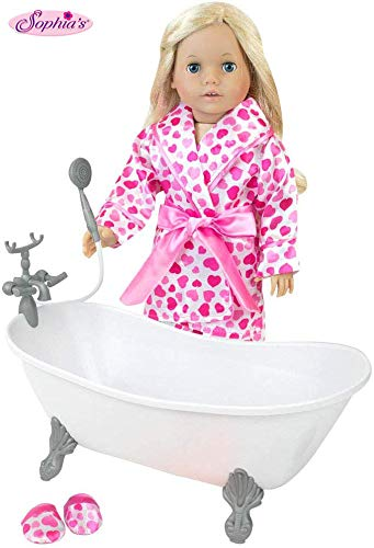 Sophia's 18 Inch Doll Bathtub Plus Heart Print PJs, Robe and Slippers for Dolls