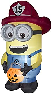 Gemmy Halloween 8.5 Foot Despicable Me Lighted Firefighter Minion Indoor/Outdor Inflatable Holiday Decoration