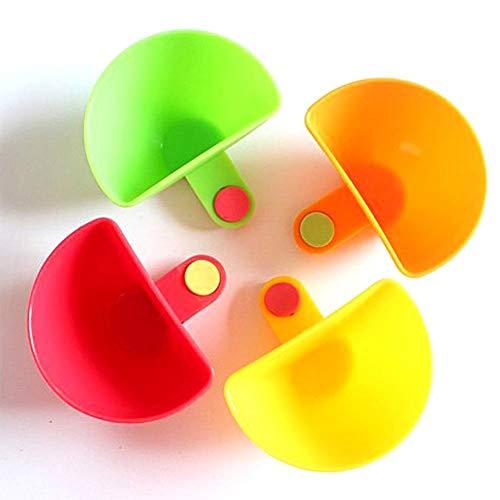 Juego de 4 soportes para platos de plástico con clip para salsas, tazas para especias, tomate, salsa, vinagre, ketchup