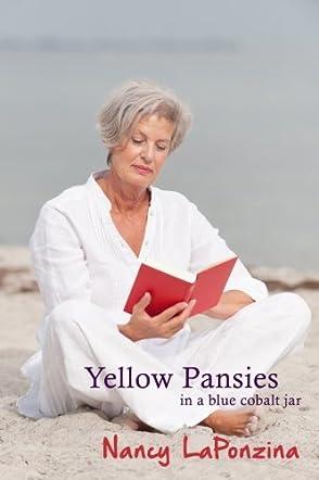 Yellow Pansies in a Blue Cobalt Jar