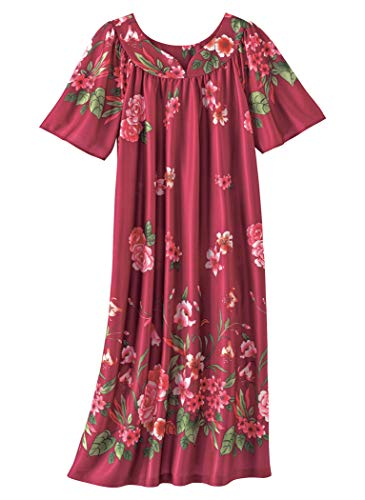 AmeriMark Lounger House Dress with Pockets for Women Muu Muu Nightgown Berry Multi Border LG