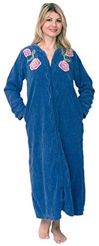Bath & Robes Women's Full Length Chenille Robe Medium Smokey Blue