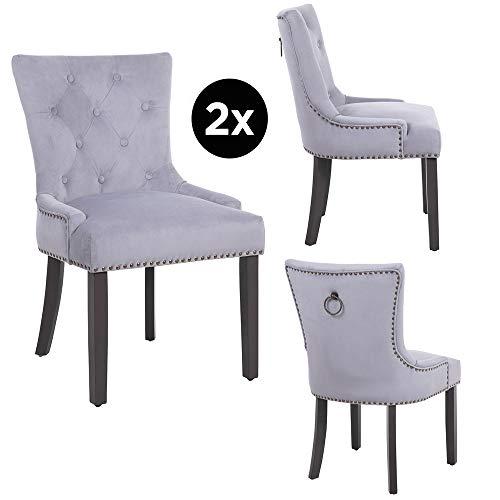 PS Global Tufted Dining Chair, Elena, Antikmessing, mit Samt bezogen und mit hochwertigem Schaumstoff gepolstert, Holzrahmen mit grau lackierten Beinen (Light Grey)
