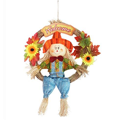BMBN Corona di spaventapasseri, Corona di spaventapasseri per Decorazioni di Halloween Felici Decorazioni per Il Ringraziamento Decorazione per Il Raccolto Autunnale per la Porta d'ingresso di casa