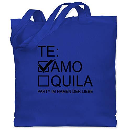 Shirtracer JGA Junggesellenabschied Frauen - Teamo/Tequila - schwarz - Unisize - Royalblau WM101 - Stoffbeutel aus Baumwolle Jutebeutel lange Henkel