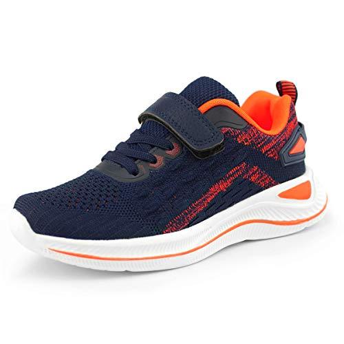 Hawkwell Kids' Running Shoes Comfort Breathable Athletic Sneakers,Navy Orange Knit,4 M US Big Kid