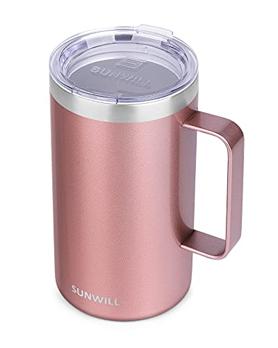 SUNWILL Insulated Coffee Mug with Handle, Camping Mug with Lid, Double Wall Stainless Steel Coffee Tumbler 22 oz, Reusable Travel Thermal Cup, Pearlized Rose Gold