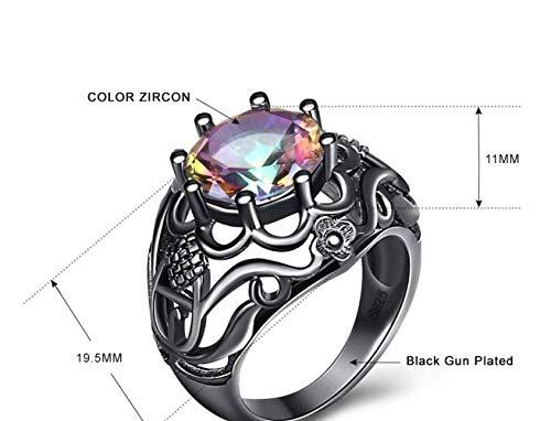 Thumby Europese en Amerikaanse Mode Kleur Zirkoon Holle Ring Creatieve Ring Plating Zwart Goud Hand Sieraden, Semi-Edelstenen Vrouwelijk, Party Flat Ring, Kanaal Instelling Planten, Set met Gems, C