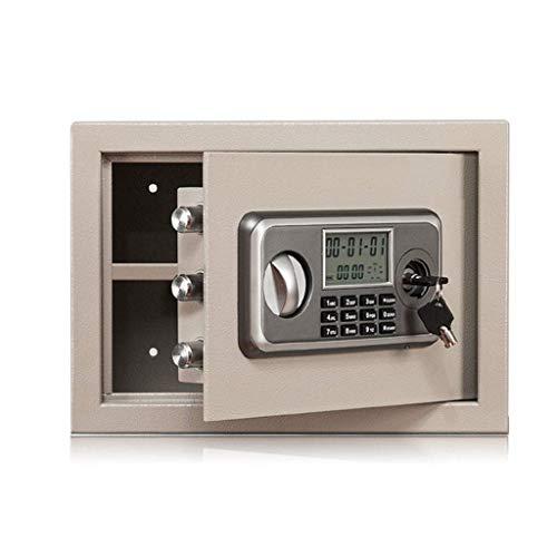LHSUNTA - Caja de Seguridad con Cerradura para Llaves, Pantalla LCD con contraseña electrónica, periódico de Acero para Guardar Objetos de Valor de Color Gris, 35 x 25 x 25 cm