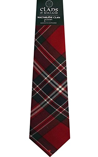 I Luv Ltd MacFarlane Clan 100% Wool Scottish Tartan Tie
