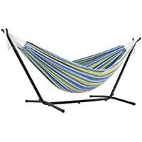 Vivere Double Cotton Hammock with Space Saving Steel Stand (450 lb Capacity - Premium Carry Bag Included) (Oasis With Charcoal Frame)