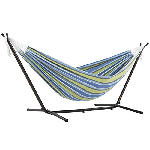 Vivere Double Cotton Hammock with Space Saving Steel Stand, Oasis (450 lb...