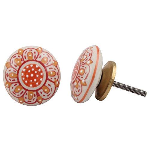 IndianShelf Handmade 2 Piece Ceramic Orange Floral Flat Artistic Rust Free Kitchen Knobs Drawer Pulls