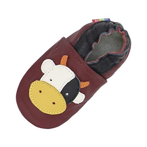 Carozoo Weiche Sohle Leder Baby Kinder Hallenschuhe Prewalker (16 Designs), Rot - Kuh dunkelrot - Größe: 30 EU