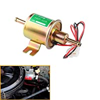QIDIAN新しいガスディーゼル燃料ポンプインライン低圧電気燃料ポンプ12V 24Vキャブレターエンジン用ユニバーサルHEP-02Aアルミニウム合金 (Gold-24V)