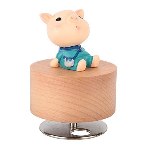 Shipenophy Caja de música de madera Rotary Music Box para Acción de Gracias (Piggy)