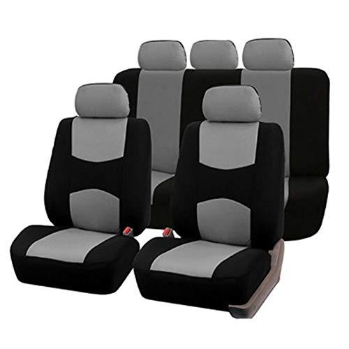 KKmoon Cubre asientos Coche Universal 9PCS Cubierta Asientos Coche,Reposacabezas Delantero Trasero para Automóvil, Camión, SUV, Furgoneta(Gris)