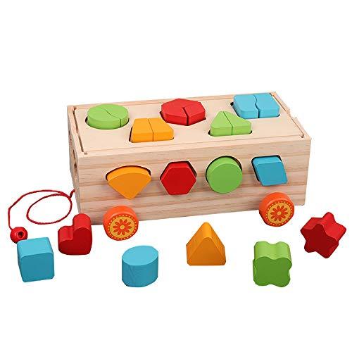 Markc Multifunktionale Intelligenz Auto Bausteine Spielzeug Kinder Farbe Form Digitale Kognitive Puzzle Holz Drag Game Sichere Und Langlebige Holzstruktur Bringt Das Beste Geschenk for Kinder