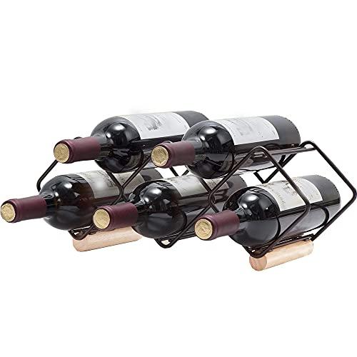 6 Flessen Lichtgewicht wijnrek, stabiel wijnrek, aanrecht wijnrek, geen behoefte aan montage en ruitstructuur, voor thuis, keuken, bijkeuken, kast, kelder, aanrecht, bar of wijnkelder