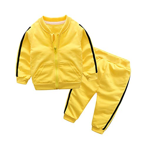 K-youth Ropa Bebe Nino Recien Nacido Otoño Invierno 2018 Ofertas Blusas Bebe Niña Abrigo Manga Larga Camisetas Bebé Conjuntos Bebe Niña Moda Camisa + Pantalones Largos(Amarillo, 0-6 Meses)