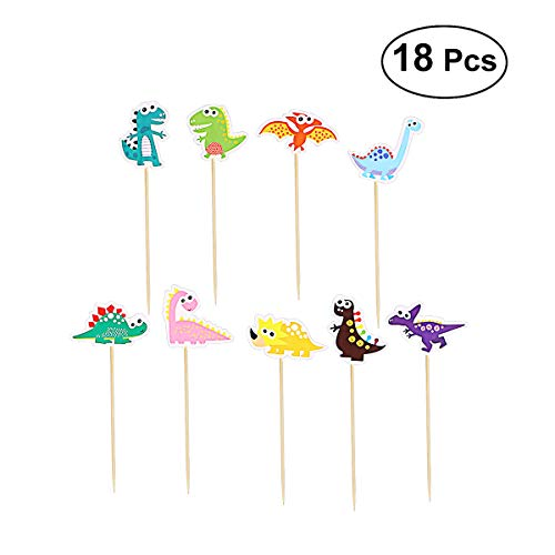 TOYMYTOY Dinosaurier-Kuchen - Cute Cake Toppers - Cupcake Dekoration für Kinder-Geburtstags-Party - Packung mit 18
