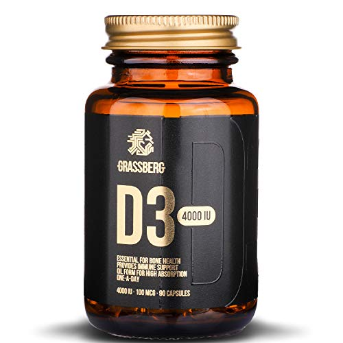 Vitamin D3 4000 IU | Vitamin D High Strength - One-A-Day Vitamin D Supplement | VIT D 90 Capsules - Easier to Swallow Than Vitamin D Tablets | VIT D3 - UK Brand | Glass Eco Friendly Package