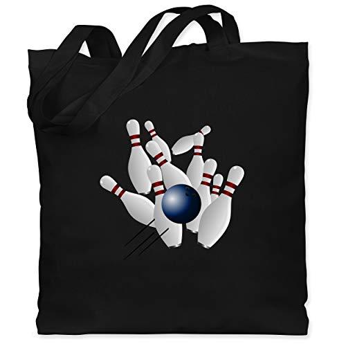 Shirtracer Bowling & Kegeln - Bowling Strike Pins Ball - Unisize - Schwarz - Kegeln - WM101 - Stoffbeutel aus Baumwolle Jutebeutel lange Henkel