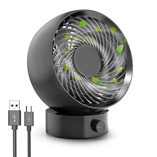 USB Ventilator, RATEL tragbarer Mini Tischventilator, Geräuschreduzierendes Design/Super starker Wind/Geschwindigkeit frei einstellen / 20 ° drehbar, Ideal für Home, Office, oder (Schwarz)