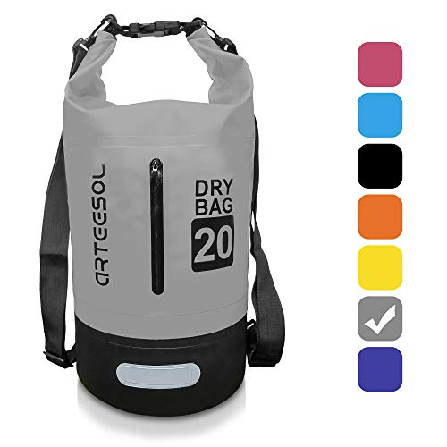 arteesol Dry Bag - 5L/10L /20L /33L wasserdichte Packsack/Trockentasche, Verstellbarer Schultergurt Inklusive, Geeignet für Kajak-, Boot-, Kanufahren/Angeln/Rafting/Schwimmen/Camping/Snowboarden