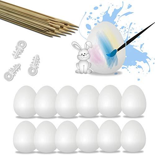 L+H 50x Ostereier aus Plastik zum bemalen und aufhängen | inklusive 60x Holzstäbe und 50x Kunstoffösen | Maße: 6 x 4,5cm | Premium Qualität | Osterdekoration zum verzieren und färben Ostern 2020