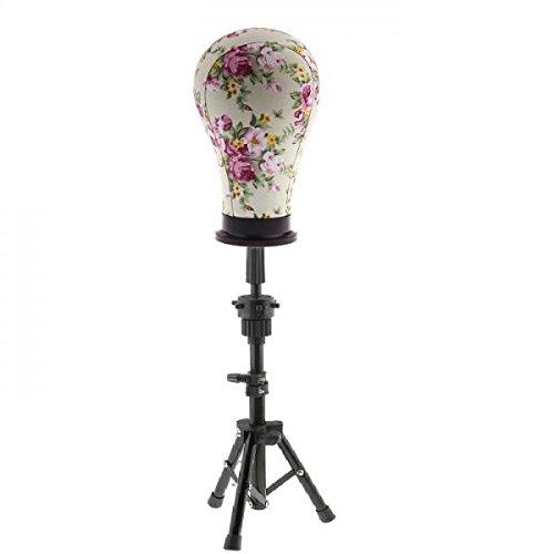 Sharplace Tête en Toile Imprimée avec Support Tete de Mannequin Art salon de Coiffure Professionnel pour Affichage Coiffeurs, Tete de Mannequin Idéal pour Présenter Perruques