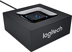 Logitech Receptor de Audio Inalámbrico, Adaptador Bluetooth para PC/Mac/Smartphone/Tablet/Receptores AV, Salidas 3.5 mm y RCA para Altavoces, Sencillo Emparejamiento, Enchufe EU, Negro