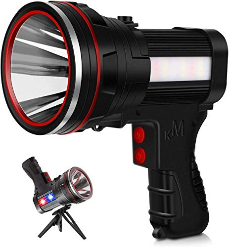 OCSMT Rechargeable Spotlight flashlight led, High-power Super Bright 10000mAh CREE L2 Spotlight 6000 Lumens, Ultra-long Standby Electric Torch, 6 Modes, with Tripod and USB OUTPUT Power Bank