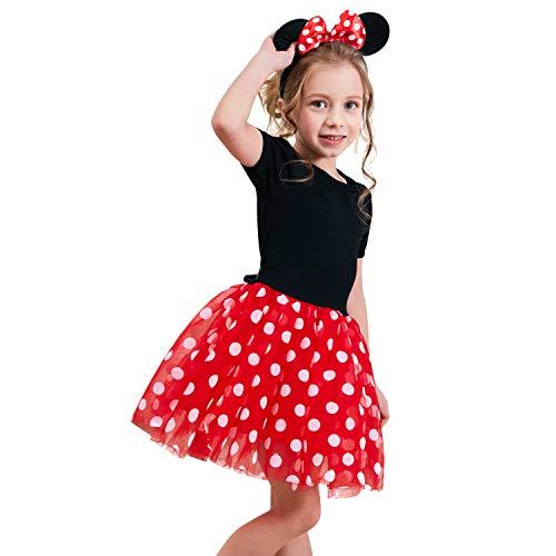 NNJXD Niñas Pequeñas Navidad Lunares CumpleAños Infantil Princesa Tutu Vestido de Carnaval Tamaño (100) 2-3 Años Rojo