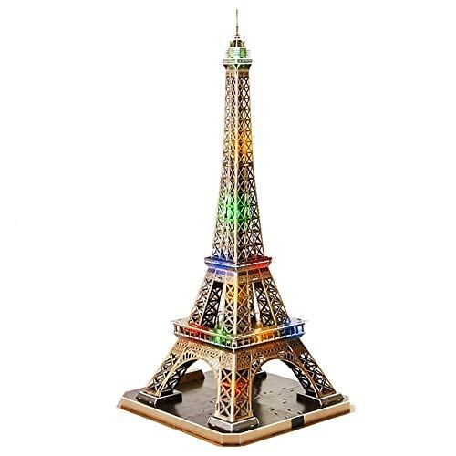 DengDD Torre Eiffel Rompecabezas 3D Paris Arquitectura Modelo Kit De Construcción Kids Jigsaw Toys Novelty Souvenir Gift Office Decoraciones,with led Light