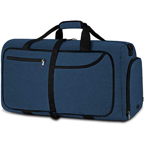 NEWHEY Bolsa de Viaje 40L Plegable Ligera Bolsa Deporte Hombre Impermeable Bolsa Fin de Semana con Compartimento Zapatos para Mujeres (azul-40L)