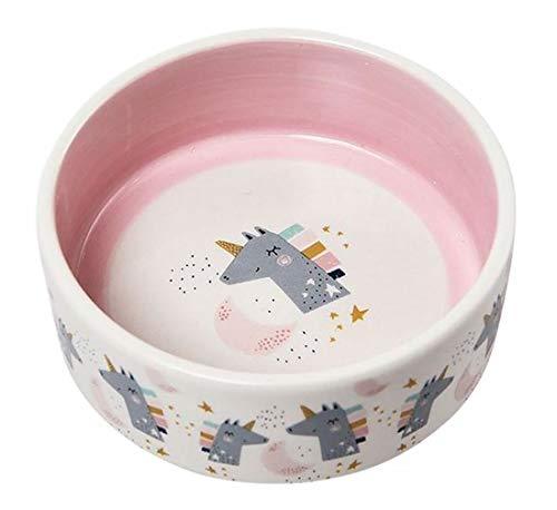 Plus Nao(プラスナオ) ペット用食器 セラミック 陶器 犬用 猫用 ペット用品 フードボール エサ皿 餌入れ 円形 イラスト ロゴ 可愛い ピンク - ユニコーン×ピンク