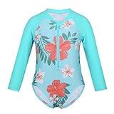 MSemis Traje de Baño Una Pieza para Bebés Niñas Impreso Flores Protección Solar Bañador Ropa de Playa Vacaciones Turquesa 3-6 Meses