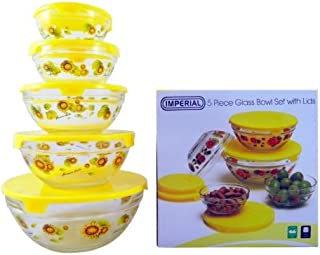 Imperial 5 Pcs Glass Nested Dipping or Storage Bowls with Yellow Sunflower Design and Yellow Lid