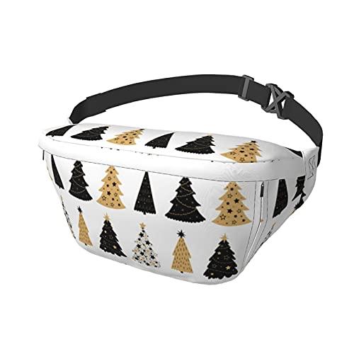 Sport Brusttasche Sling Bag Crossbody Schulterrucksack Schwarz und Gold Weihnachtsbaum Mode Trend Taille Daypack für Reisen Gym Sport Wandern Radfahren für Männer Frauen