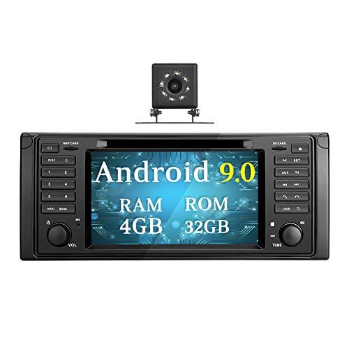 Ohok 7 Zoll Bildschirm 1 Din Autoradio Android 9.0 Pie Octa Core 4G+32G Radio mit Navi Moniceiver DVD GPS Navigation Bluetooth DAB+ für BMW 5 E39 Series / X5 E53 Series mit Klein-Rückfahrkamera