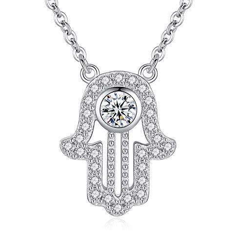Collier avec pendentif main de Fatma en argent sterling 925 et oxyde de zirconium 40-47-45,7 cm pour femme