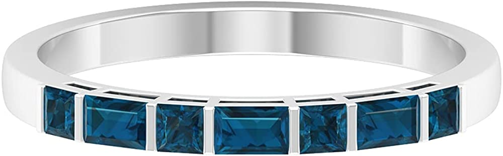 1/2 CT Bar Set London Blue Topaz Stackable Ring (AAA Quality),14K White Gold,London Blue Topaz,Size:US 9.50