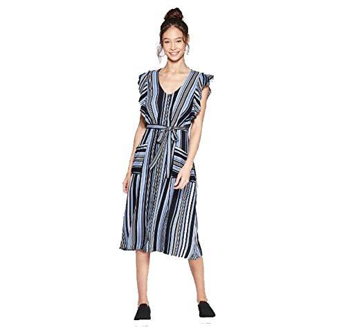 Xhilaration Women's Striped Short Sleeve V-Neck Button Front Tie Midi Dress with Pockets (Sky Blue, XL)