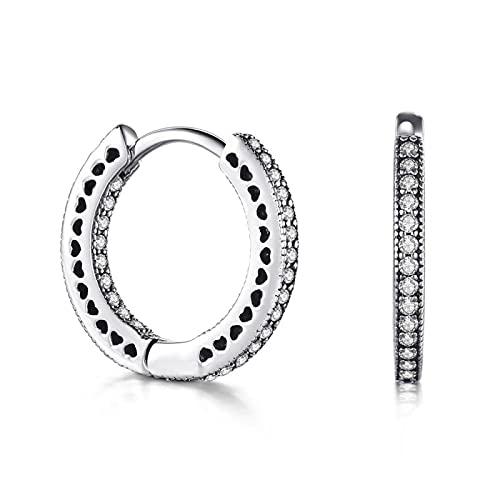 Pendientes de aro de corazones completos clásicos de Plata de Ley 925, joyería de moda de circonita cúbica de lujo para mujer, regalo de boda