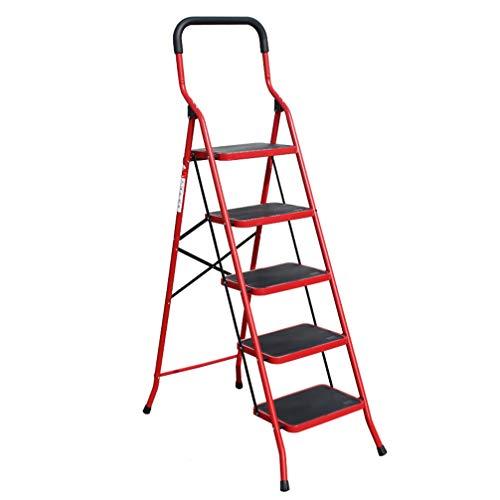 ZKHD Fünfstufige Erweiternden Pedalteleskopleiter, Haushaltsklapp Fischgrät-Leiter, Innen Verdickung Multifunktionale Treppensteigleiter,Rot