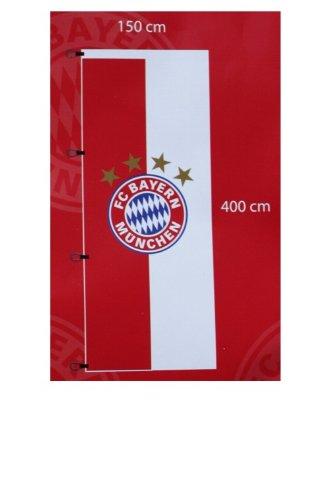 FC Bayern Hissfahne XL Flagge Logo 150 x 400 cm mit 4 Kunststoff-Karabinerhaken für Fahnenmas
